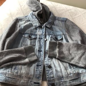 Denim jacket with a built-in hoodie